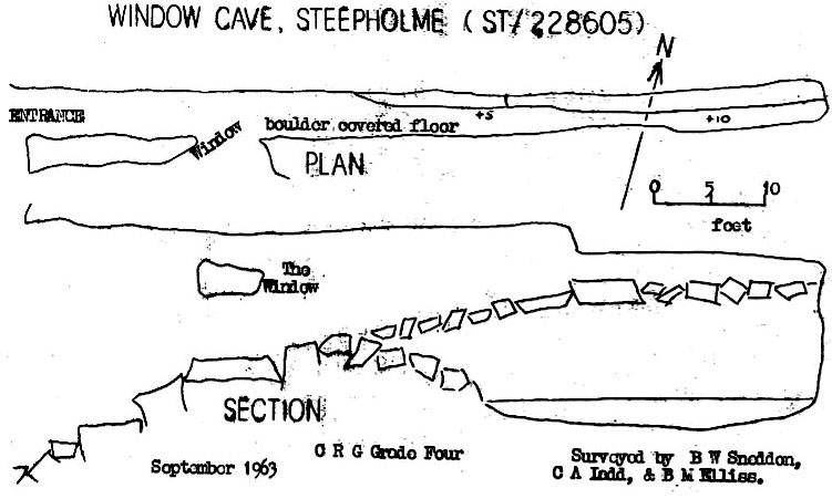 Figure 1 – Sketch Survey of Window Cave, Steep Holme