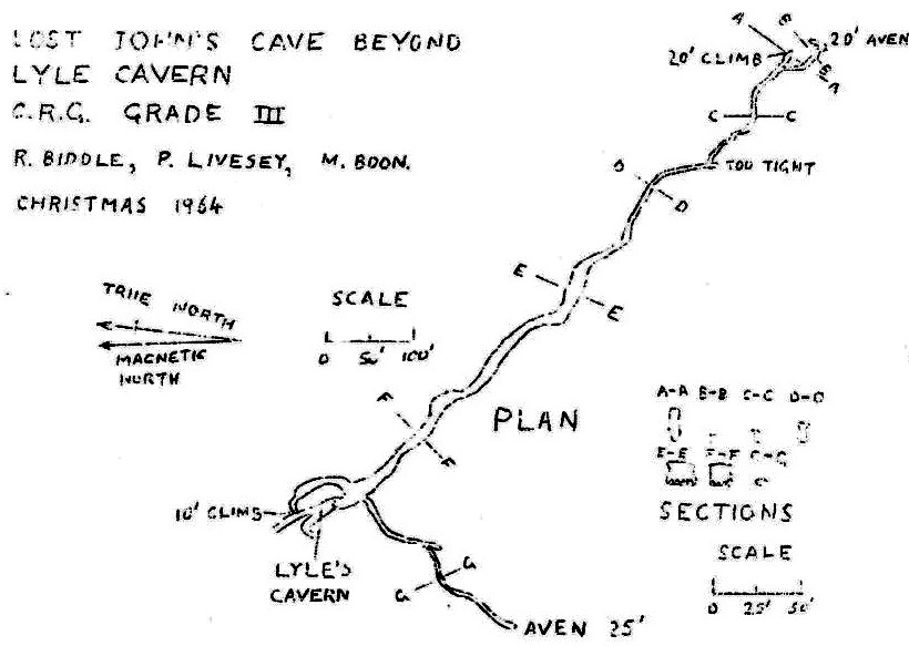 Figure 2 – Survey of Extension to Lost Johns Cavern